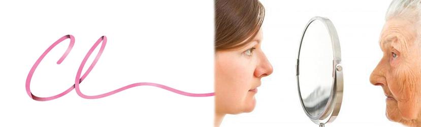 Ilustração de uma Paciente Antevendo o Envelhecimento da Face